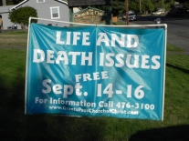 Our lawn banner from the west